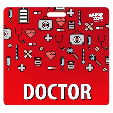Doctor Badge Buddy - Red with Medical Icons - Horizontal Badge Id Card for Doctors - By BadgeZoo