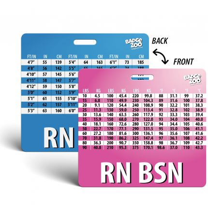 RN BSN Badge Buddy - pink-blue - Horizontal Badge Id Card for Registered Nurses with a Bachelor's Degree - By BadgeZoo