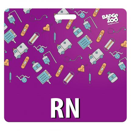 RN Badge Buddy - Purple with Medical Icons - Horizontal Badge Id Card for Registered Nurses - By BadgeZoo
