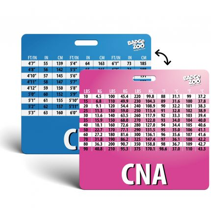 CNA Badge Buddy with Weight, Height and Temperature conversion pink-blue - Horizontal Badge Id Card for Certified Nursing Assistants - By BadgeZoo