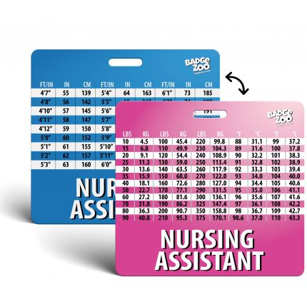 Nursing Assistant Badge Buddy with Weight, Height and Temperature conversion pink-blue - Horizontal Badge Id Card for Nursing Assistants - By BadgeZoo