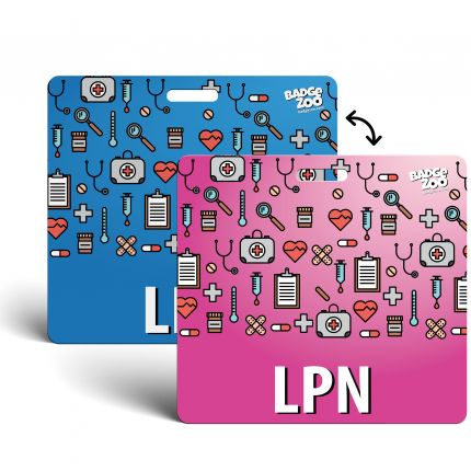 LPN Badge Buddy - pink-blue with Medical Icons - Horizontal Badge Id Card for Licensed Practical Nurses - By BadgeZoo