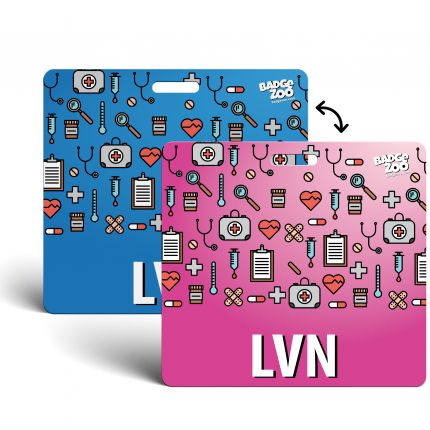 LVN Badge Buddy - pink-blue with Medical Icons - Horizontal' Badge Id Card for Licensed Vocational Nurses - By BadgeZoo