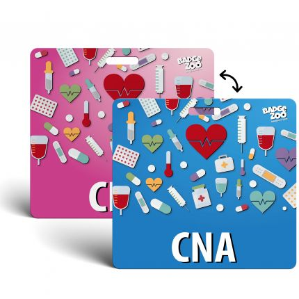CNA Badge Buddy - pink-blue with Medical Icons - Horizontal Badge Id Card for Certified Nursing Assistants - By BadgeZoo