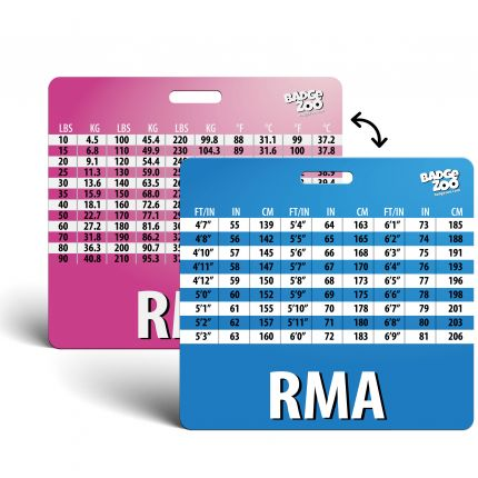 RMA Badge Buddy with Weight, Height and Temperature conversion pink-blue - Horizontal Badge Id Card - By BadgeZoo