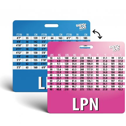 LPN Badge Buddy with Weight, Height and Temperature conversion pink-blue - Horizontal Badge Id Card for Licensed Practical Nurses - By BadgeZoo