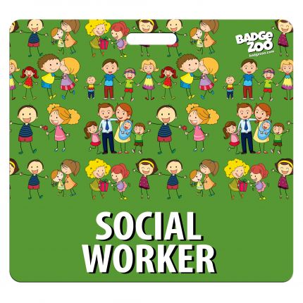 Social Worker Badge Buddy - Green with a Family Theme - By BadgeZoo