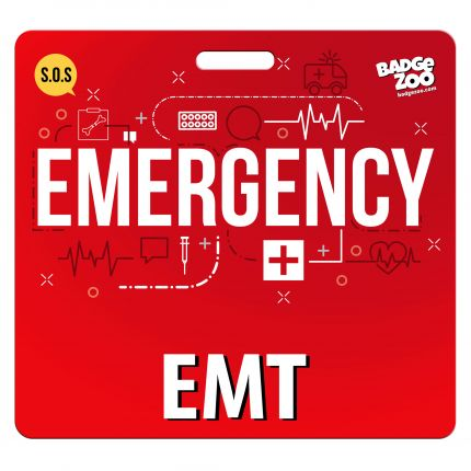 EMT Badge Buddy - RED - Emergency Themed backer card - Horizontal Badge Id Card - By BadgeZoo