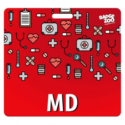 MD Badge Buddy - Red with Medical Icons - Horizontal Badge Id Card for Doctors - By BadgeZoo
