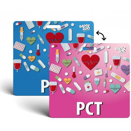 PCT Badge Buddy - pink-blue - Horizontal Badge Id Card - By BadgeZoo