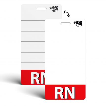 RN Badge Buddy Red Horizontal Heavy Duty Badge Tags Backer Card Double Sided Badge Identification Card - by BadgeZoo