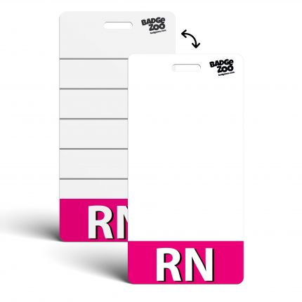 RN Badge Buddy Pink Vertical Heavy Duty Badge Tags Backer Card Double Sided Badge Identification Card - by BadgeZoo