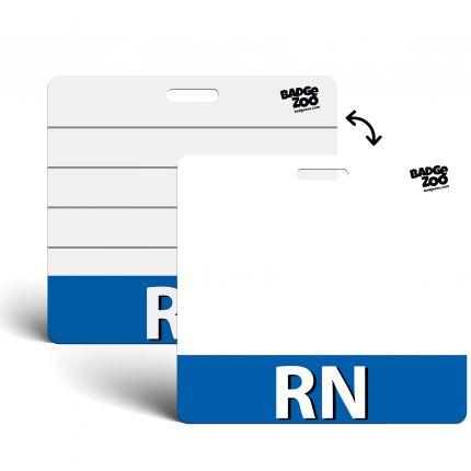 RN Badge Buddy Blue Horizontal Heavy Duty Badge Tags Backer Card Double Sided Badge Identification Card - by BadgeZoo