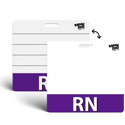 RN Badge Buddy Purple Horizontal Heavy Duty Badge Tags Backer Card Double Sided Badge Identification Card - by BadgeZoo