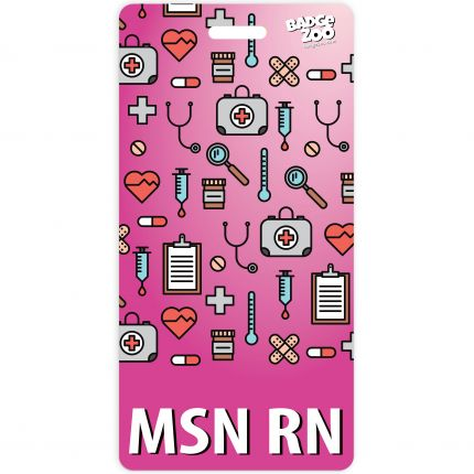 MSN RN Badge Buddy Pink Vertical Heavy Duty Badge Tags Backer Card Double Sided Badge Identification Card - by BadgeZoo