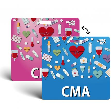 CMA Badge Buddy pink-blue Horizontal Heavy Duty with Medical Icons Identification Card - by BadgeZoo
