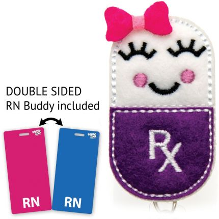 Pill Girl RX Badge Reel - Prescription Pill Badge Holder