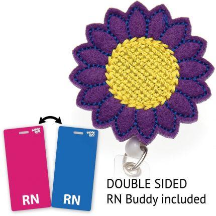 Purple Daisy Badge Reel - with RN Badge Buddy