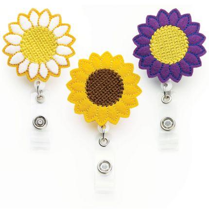 Flower Badge Reels - 3 Pack - Sunflower Badge Clip
