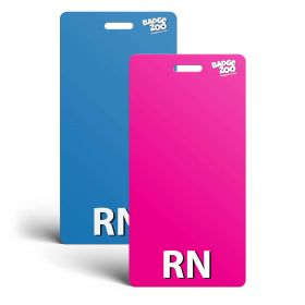 RN Badge Buddy - Pink/Blue - Vertical Badge Id Card for Registered Nurses - By BadgeZoo