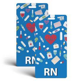 RN Badge Buddy - Blue with Medical Icons - Vertical Badge Id Card for Registered Nurses - By BadgeZoo