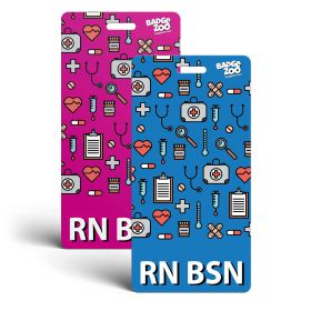 RN Badge Buddy - Pink/Blue - Vertical Badge Id Card for Registered Nurses with a Bachelor's Degree - By BadgeZoo