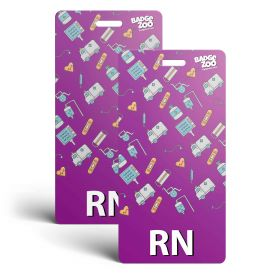 RN Badge Buddy - Purple with Medical Icons - Vertical Badge Id Card for Registered Nurses - By BadgeZoo
