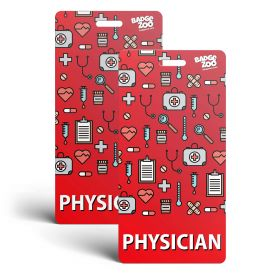 Phisician Badge Buddy - Red with Medical Icons -  Vertical Badge Id Card for Physicians - By BadgeZoo