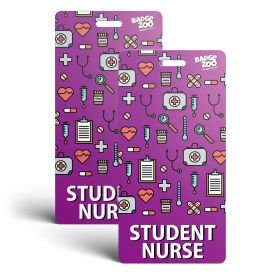 Student Nurse Badge Buddy - Purple with Medical Icons -  Vertical Badge Id Card for Student Nurses - By BadgeZoo