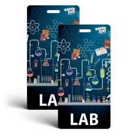 LAB Badge Buddy - Black - Chemistry Themed -  Vertical Badge Id Card - By BadgeZoo