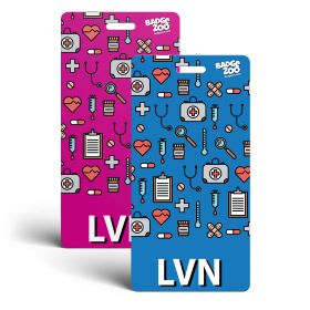 LVN Badge Buddy - Pink/Blue with Medical Icons - Vertical Badge Id Card for Licensed Vocational Nurses - By BadgeZoo