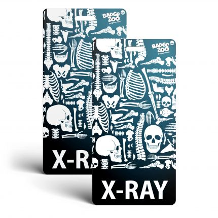 X-Ray Badge Buddy - Black - Skeleton Themed -  Radiology Vertical Badge Id Card - By BadgeZoo