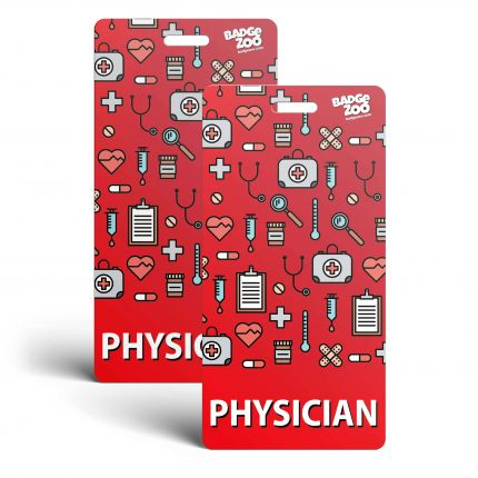 Physician Badge Buddy - Red with Medical Icons -  Vertical Badge Id Card for Physicians - By BadgeZoo