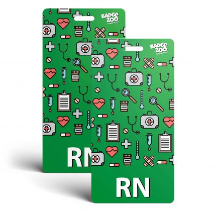 RN Badge Buddy - Green with Medical Icons - Vertical Badge Id Card for Registered Nurses - By BadgeZoo