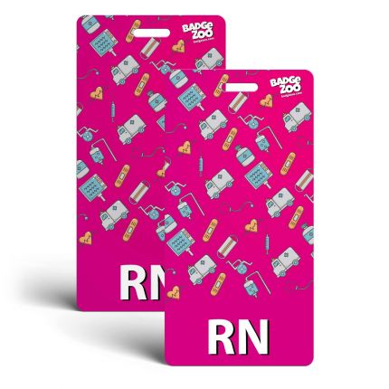 RN Badge Buddy - Pink with Medical Icons - Vertical Badge Id Card for Registered Nurses - By BadgeZoo