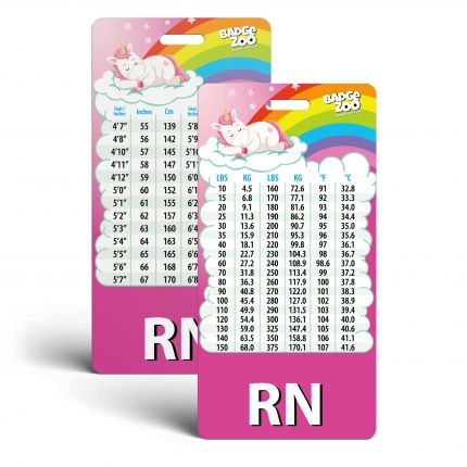 RN Badge Buddy with Weight, Height and Temperature conversion - Pink Unicorn Themed - Vertical Badge Id Card for Registered Nurses - By BadgeZoo