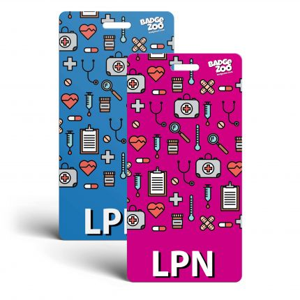 LPN Badge Buddy - Pink/Blue with Medical Icons - Vertical Badge Id Card for Licensed Practical Nurses - By BadgeZoo