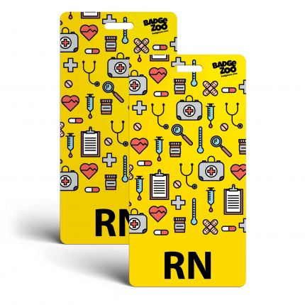 RN Badge Buddy - Yellow with Medical Icons - Vertical Badge Id Card for Registered Nurses - By BadgeZoo