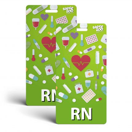 RN Badge Buddy - Light Green with Medical Icons - Vertical Badge Id Card for Registered Nurses - By BadgeZoo