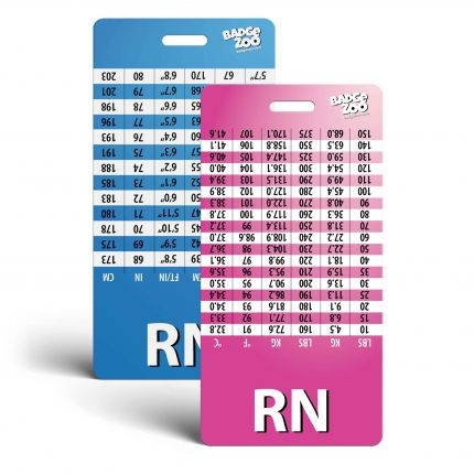 RN Badge Buddy with Upside Down Weight, Height and Temperature conversion Pink/Blue - Vertical Badge Id Card for Registered Nurses - By BadgeZoo