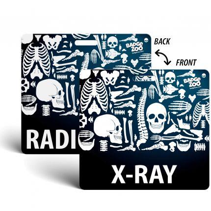 X-Ray / Radiology Badge Buddy - Black - Skeleton Themed - Radiology Horizontal Badge Id Card - By BadgeZoo