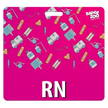 RN Badge Buddy - Pink with Medical Icons - Horizontal Badge Id Card for Registered Nurses - By BadgeZoo