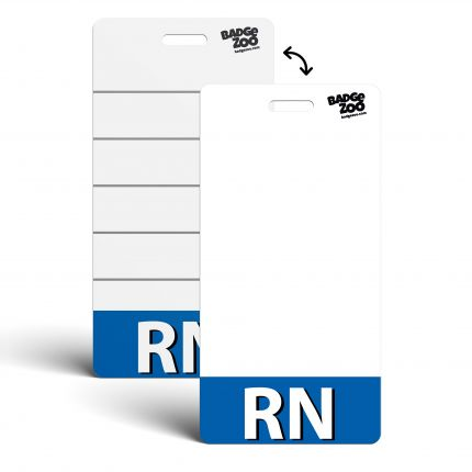 RN Badge Buddy Blue Vertical Heavy Duty Badge Tags Backer Card Double Sided Badge Identification Card - by BadgeZoo