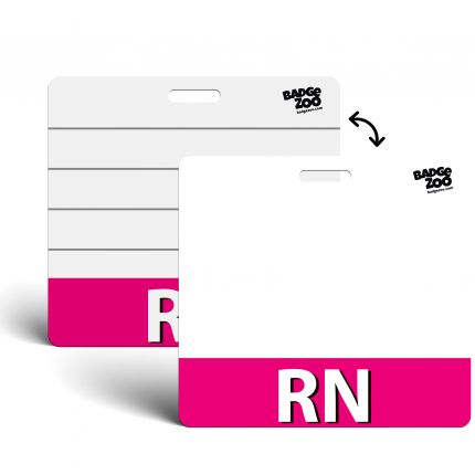 RN Badge Buddy Pink Horizontal Heavy Duty Badge Tags Backer Card Double Sided Badge Identification Card - by BadgeZoo