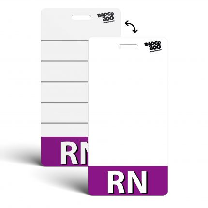 RN Badge Buddy Purple Vertical Heavy Duty Badge Tags Backer Card Double Sided Badge Identification Card - by BadgeZoo