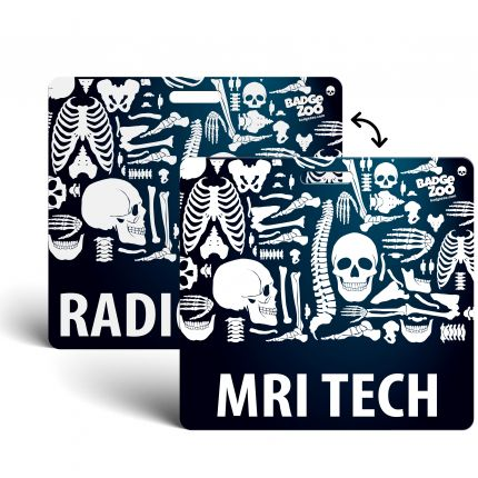 MRI TECH / Radiology Badge Buddy Horizontal Heavy Duty Badge Tags Backer Card Double Sided Badge Identification Card - by BadgeZoo