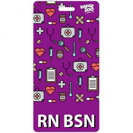 RN BSN Badge Buddy Purple Vertical Heavy Duty Badge Tags Backer Card Double Sided Badge Identification Card - by BadgeZoo