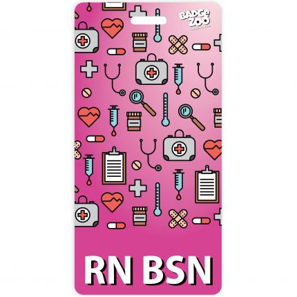 RN BSN Badge Buddy Pink Vertical Heavy Duty Badge Tags Backer Card Double Sided Badge Identification Card - by BadgeZoo