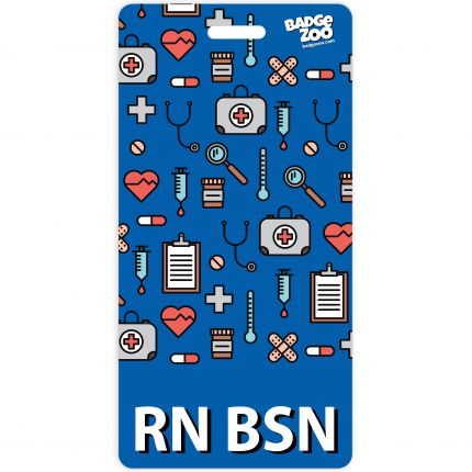 RN BSN Badge Buddy Blue Vertical Heavy Duty Badge Tags Backer Card Double Sided Badge Identification Card - by BadgeZoo