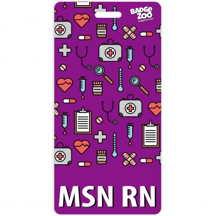 MSN RN Badge Buddy Purple Vertical Heavy Duty Badge Tags Backer Card Double Sided Badge Identification Card - by BadgeZoo